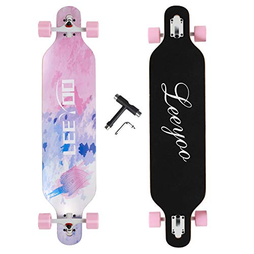 Longboard Skateboard, 41 Inch 8 Layer Natural Maple Drop Through Longboards for Kids Boys Girls Youths Beginners.