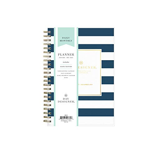 Day Designer for Blue Sky 2021 Daily & Monthly Planner, Frosted Flexible Cover, Twin-Wire Binding, 5' x 8', Navy Stripe (103623-21)