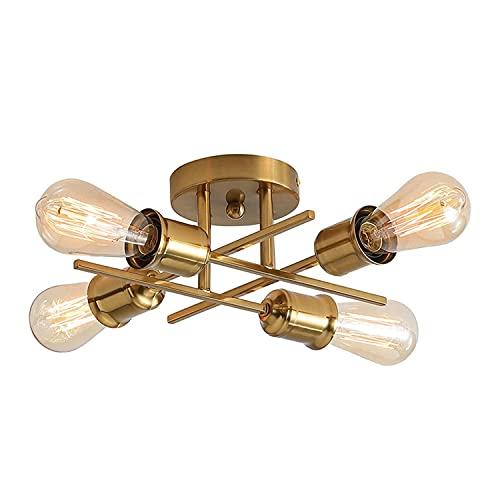 Lámpara de techo de metal con 4 luces de montaje semiempotrado, lámpara de techo para sala de estar, dormitorio, comedor, cocina, cafetería pasillo