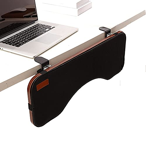Ergonomic Desk Extender Clamp On Keyboard Tray Under Desk Adjustable Mouse and Keyboard Tilted Tray Table Mount Armrest Shelf Stand Slide Computer Elbow Arm Forearm Support Pad