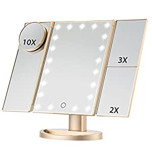 Beauty Shopping Magicfly Vanity Mirror Lighted Makeup Mirror 10X 3X 2X 1X Magnifying Mirror with 21 LED Lights, Trifold Mirror with…
