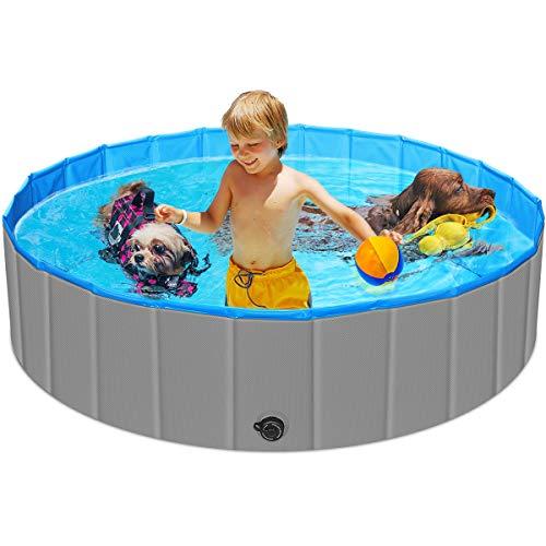 URPOWER Foldable Dog Pool Thick Design 47 Inch Kiddie Pool Portable Kid Pool Plastic Pool Anti-Slip...
