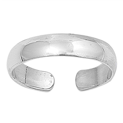 Zehenring aus 925 Sterling Silber als Fußschmuck oder Fingerring für Damen, Herren und Kinder, offener Midi Ring, verstellbar, Breite 4mm, Modell 9