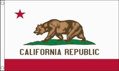 California Republic USA état 5ft x3ft (150cm x 90cm) DRAPEAU + 59mm Button Badge