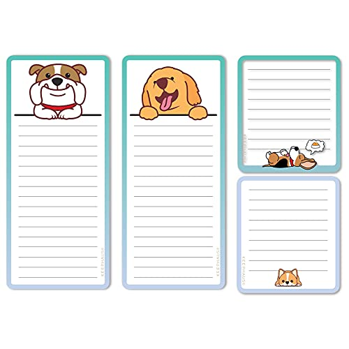 Dogs Magnetic Notepads in Large and Small Sizes for Fridge (4 Pack); Grocery Shopping List Pad, To-Do List, Reminders, Memo and Scratch Pad - Cute Dog Designs |Full Magnet Back |50 Sheets per Note Pad