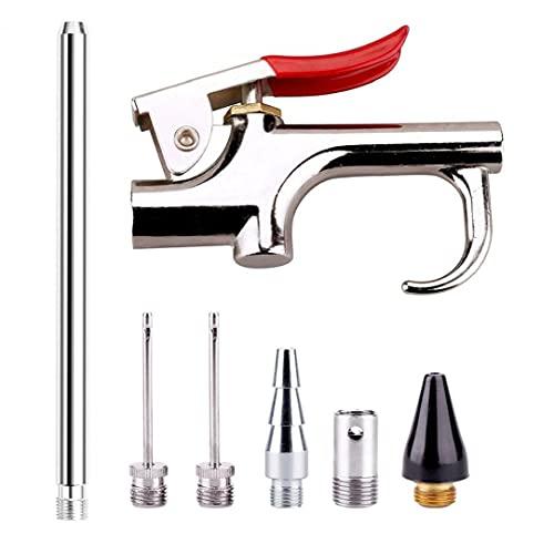 Boquilla de aire Kit Blow, 7 Herramientas Kit de herramientas neumáticas Boquilla compresor con 6 boquillas intercambiables de plata de color caqui