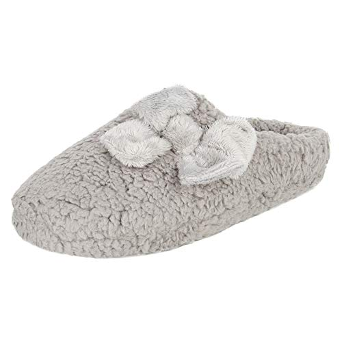 Jessica Simpson Women's Plush Marshmallow Slide On House Slipper Clog with Memory Foam, Grey, Large