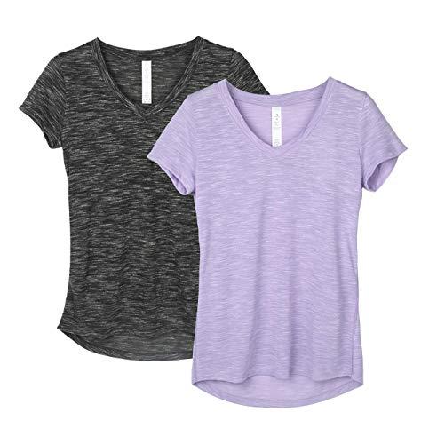 icyzone Damen T-Shirt Kurzarm V-Ausschnitt Yoga Tops Casual Sport Shirt 2er Pack (L, Black/Lavender)