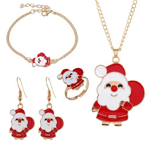Amosfun Precioso Collar de Luna de Navidad Pulsera Pendiente Anillo Vacaciones de Navidad Medias de Relleno Accesorios joyería Regalo para Mujeres niñas