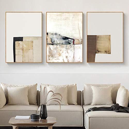 Lienzo Pintura Abstracta Vintage Color Beige Patrón Geométrico Arte de la pared Carteles e impresiones para la decoración de la sala de estar 23.6 'x31.4' (60x80cm) 3 piezas Sin marco