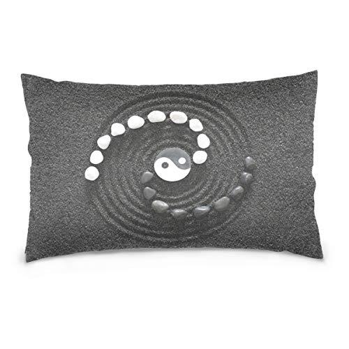 DragonSwordlinsu COOSUN Zen Stones - Funda de Almohada para sofá y Cama (Funda de Lino y Cremallera, Invisible), Terciopelo, 16x24 Inches/ 40x60 CM