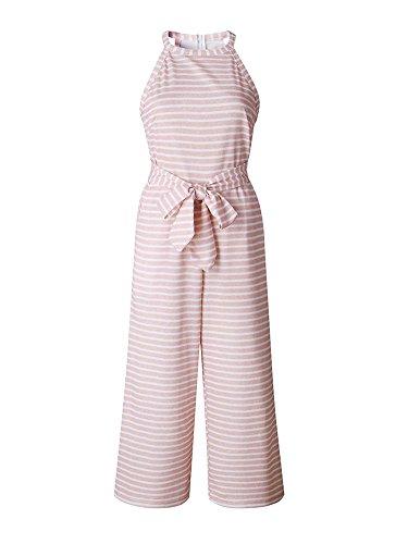 Minetom Jumpsuit Damen Sommer Streifen Elegant Playsuit Blumenmuster Strand Ärmellos Overall Lang Romper A Rosa DE - 5