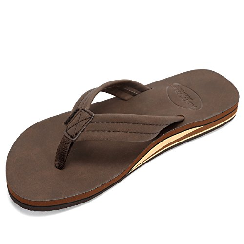FANTURE Mens Sandals Arch Support Flip Flops with Wide Strap Orthotic Comfort Walk Thong Style Casual Slipper Indoor and Outdoor U420SCHTX-Dark Brown-44