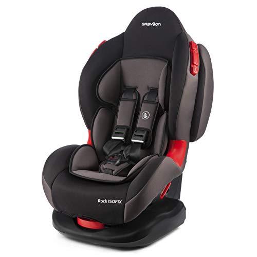BABYLON asiento para bebé coche Rock Isofix asiento para niños grupo 1/2, asiento para niños 9-25 kg (9 meses a 7 años).silla coche bebe ECE R44 /0 Negro/gris ahumado