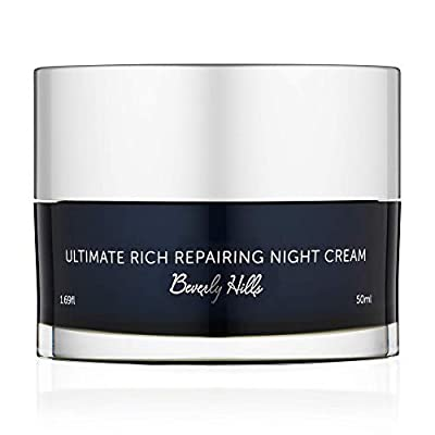 Beverly Hills Moisturiser Night Cream for Face with Hyaluronic Acid, Jojoba Oil, and Squalene for Anti Ageing Wrinkle Repair and Hydrating Dry Damaged Skin, 50 ml by Beverly Hills