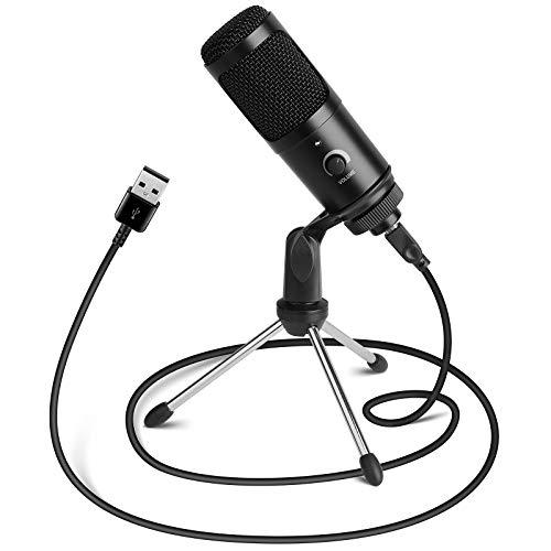 MVPower USB Mikrofon,PC Laptop Kondensator Mikrofon Aufnahmemikrofon mit Tripod Ständer,Studioqualität Aufnahme,Cardioid Radio Mikrofonsets
