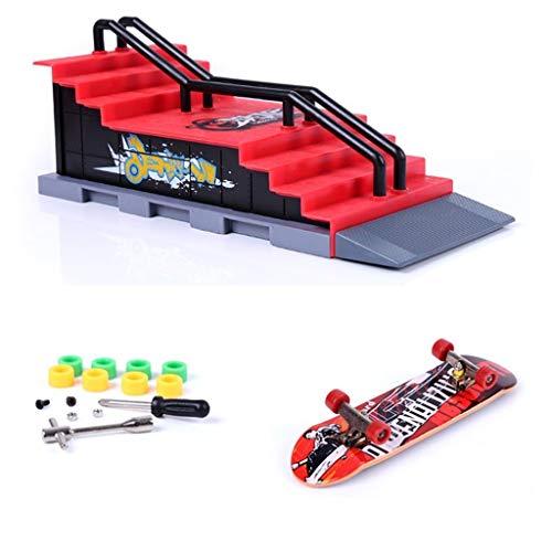 MOMSIV Mini Finger Toy Skateboard Skate Park Ramp Kit, Ultimate Parks Training Props (F)