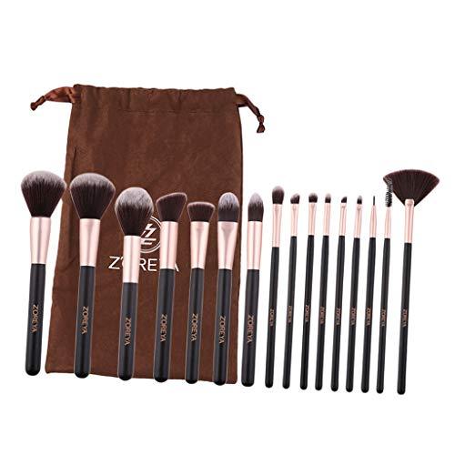 perfeclan 16pcs Professionnels Pinceaux De Maquillage Mis En Place Le Soin De Visage De Base D'outil De Cosmétiques + Sac