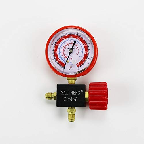 IENPAJNEPQN Kühlschrank, Klimaanlage, Autokältemittelverteiler Spur Hoch- / Niederdruck R134a R404a R22 R410a Kältemittel Manometer (Pressure Range : Red)