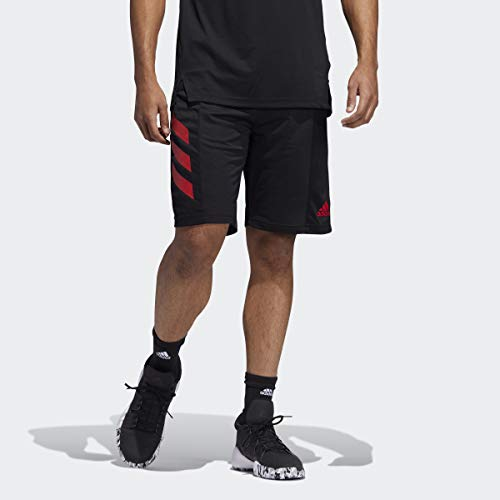 adidas Sport 3-Stripes Shorts Pantalones Cortos, Negro/Escarlata, M Tall para Hombre