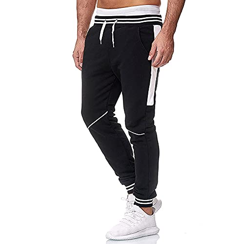 LUNULE Herren Jogginghose Stylische Streifen Jogging Pants Jogging Gym Fitness Sporthose für Männer Lange Stretch Trainingshose Herren Sport Jogger Fitnesshose Trekkinghose mit Drawstrings und Taschen