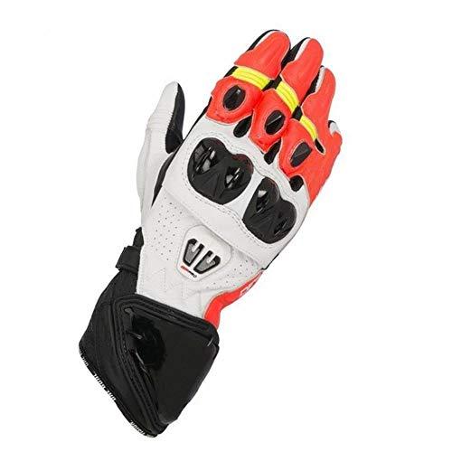 SDFS Leather GP PRO R2 - Guantes largos para motocicleta, para carreras y motociclismo, color naranja, talla L