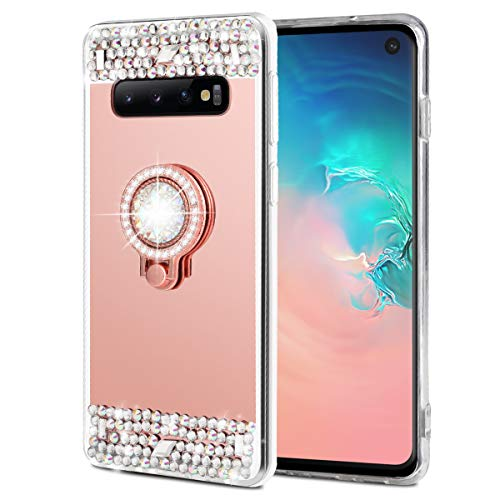 Caka Case for Galaxy S10 Glitter Case Mirror Series Luxury Bling Cute Shiny Mirror Makeup Case for Girls with Ring Kickstand Diamond Crystal Protective TPU Case for Galaxy S10 (Rose Gold)