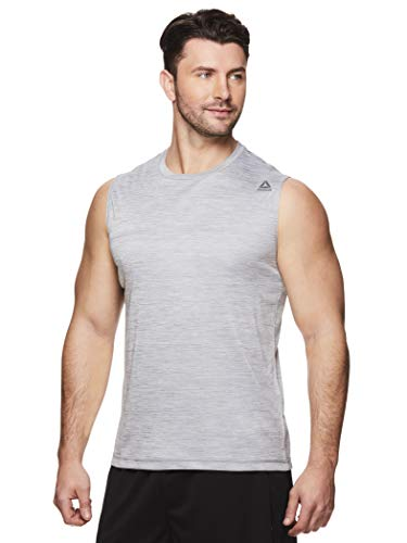 Reebok Men's Muscle Tank Top - Sleeveless Workout & Training Activewear Gym Shirt - Charger Sleet Heather, Medium