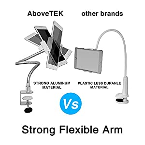 """AboveTEK iPhone Gooseneck Holder, Heavy Duty Aluminum Tablet Stand iPad Holder for Bed Kitchen Office, Flexible Long Arm Mount Stand Fits 3.5""""-11"""" iPhone X 11 Pro XS Max iPad Android Tablet"""