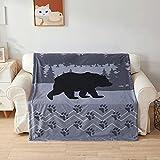 Gray Bear Blanket Lodge Bear Bedding Black Bear Paw Pine Sherpa Throw Blanket Cabin Fleece Plush Soft Cozy Reversible Sherpa Fleece Blanket for Couch 50'x60' - Forest Travel Throw Wooden Home Decor
