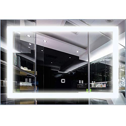 RELAX4LIFE LED Badezimmerspiegel 70 x 50 cm, Badspiegel mit Smart Touchscreen, rahmenloser Lichtspiegel Wandmontage, Wandspiegel fürs Badezimmer, Beleuchtung mit Lampeperlen, LED-Badspiegel kaltweiß