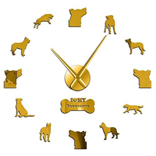 ZYZYY 27 inches Frameless grote muur klok Beauce herder stille kwarts opknoping muur horloge Bas Rouge hond decoratieve muur kunst klok huis digitale mute