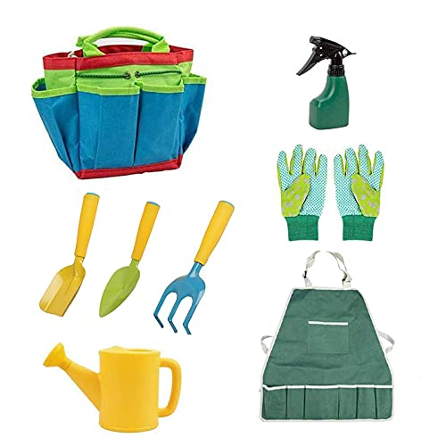 Kinder Gartengeräte Set, WMLBK 8 Stück Gartenwerkzeug Kinder Gartenwerkzeug Set mit Gießkanne, Handschuhe, Schaufel, Gabel, Schürze und Garten Werkzeugtasche Spielwerkzeuge für den Garten/Strand