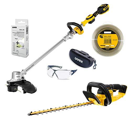 DeWALT UVEX Gartenpflege-Set, Rasentrimmer, Heckenschere, Trimmerfaden, Schutzbrille + Brillenetui, Gehörschutz 18 V, Ausführung:ohne Akkus und Ladegerät