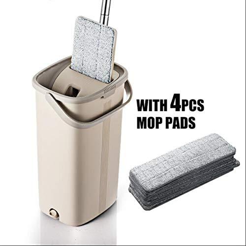 DIANZI mop Ahandvrije mop voor het schoonmaken van de keuken vloerreiniging microvezel mop met automatisch emmerreinigingssysteem