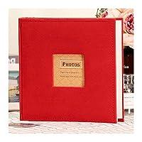 ファブリックフレームカバーフォトアルバムは、本棚アルバム200個のポケットは4「×6」の写真をホールド (Color : Red)