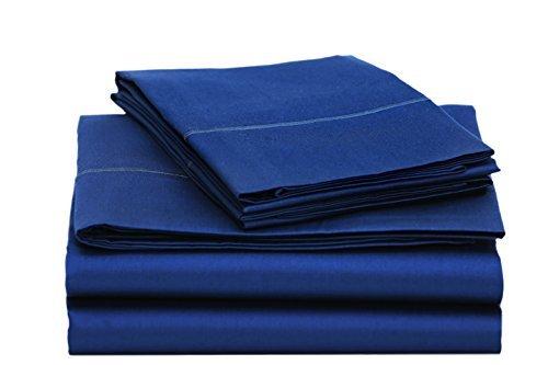 "ONE PARK LINENS | 100% Organic Cotton Sheet Set | GOTS Certified – Eco Friendly | 400 TC - 4 Piece Set | Incredibly Soft and Luxurious Sateen Weave | 16"" Deep Mattress Pockets | Queen - Navy Blue"