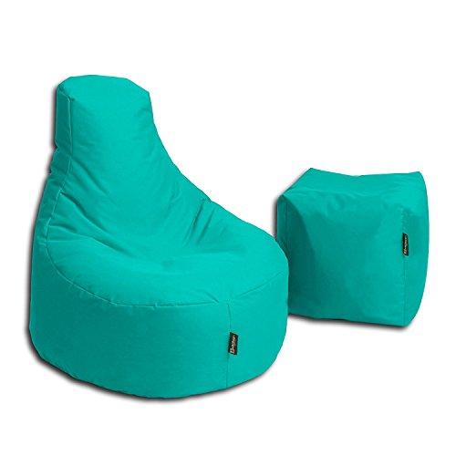 BuBiBag Sitzsack Stillkissen Set Kissen Lounge Gamer Sitzsack Sessel original Sitzkissen In & Outdoor geeignet fertig befüllt in 32 Farben (türkis)
