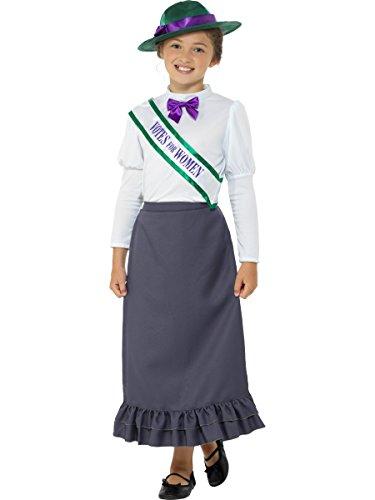Smiffys Kostüm, Viktorianische Frauenrechtlerin, Grau & Pastellrosa, mit Rock, angenähter Bluse, Schärpe und Hut, L