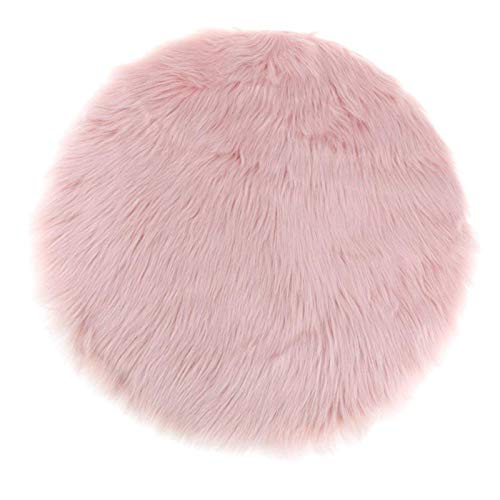Alfombra de piel de oveja sintética, decorativa, muy suave, imitación de piel de cordero, pelo largo, imitación de lana, alfombra para cama, sofá (rosa, 80 cm, redonda), color azul