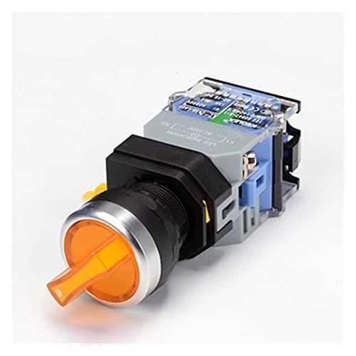 SRQOESFF Commutateur rotatif Interruptor de botón Giratorio de 1 UNIDS con Ligh 22mm 2 Posición 3 Posición Llateado LED Interruptores Red Green Head la38-11xd / 2 (Color : Yellow, Size : 3 Position)