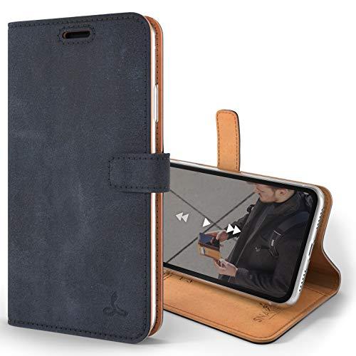 Snakehive iPhone XR Schutzhülle/Klapphülle echt Lederhülle mit Standfunktion, Handmade in Europa Bye iPhone XR (Marine Blau)