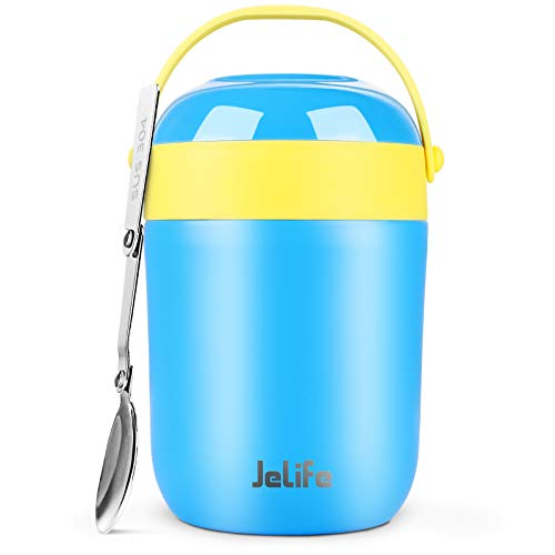 16oz Insulated Food Jar Hot Food Containers for Lunch School Soup Thermos for Kids Jelife Vacuum Leak Proof Stainless Steel Lunch Bento Box with Foldable Spoon for HotCold Food Travel CampingBlue