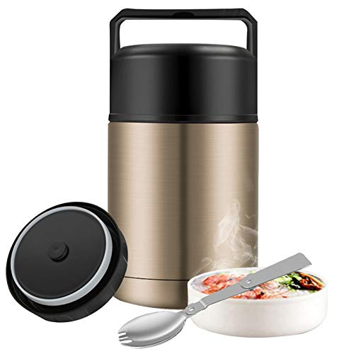 Food Thermos,27oz Wide Mouth Soup Thermos for Hot Food with Folding Spoon,Insulated Food Jar,Leak Proof Soup Thermos,Stainless Steel Vacuum Lunch Container Flask Bento Box for Kids Adult (Gold)