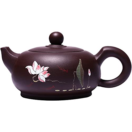 Conjuntos de té Exquisitamente y elegantemente 350 ml de gran capacidad de loto hecha a mano de loto pintado de tetera ore original púrpura púrpura arena casero selección de regalo Conjunto de tetera