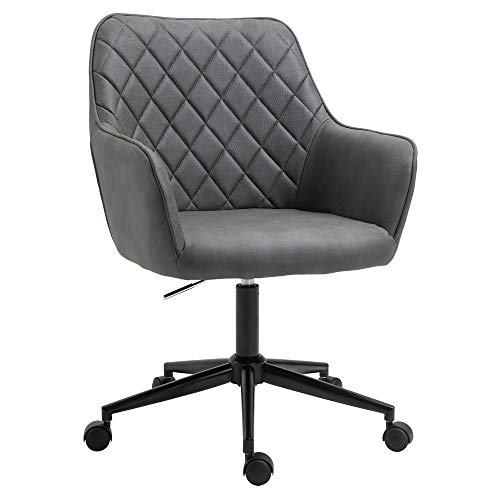 Vinsetto Swivel Office Chair Leather-Feel Fabric Home Study Leisure with Wheels, Grey Argyle