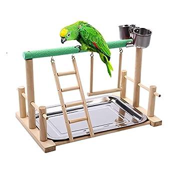 ZHANGJINYISHOP2016 Pet Bird Toy Activity Center Birdcage Stands avec Oiseau Perch Ladder Hammock Fearer Aire de Jeux pour Cockatiel Parrot (Color : Green)