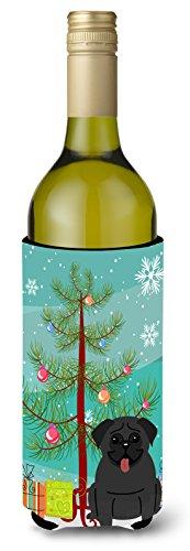 Caroline tesoros del bb4131literk feliz árbol de Navidad perro negro para botella de vino bebida Insulator Hugger, 750ml, Multicolor
