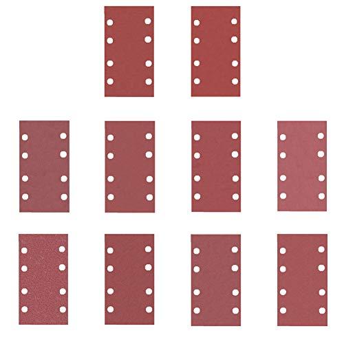GuTen 100PCS 93X185mm 8 Löcher Detail Orbital Sander Schleifpapier Schleifpapier Staublosen Klettverschluss Sortierte 40/60/80/120/180/240/400/600/800/1000 Grits MEHRWEG