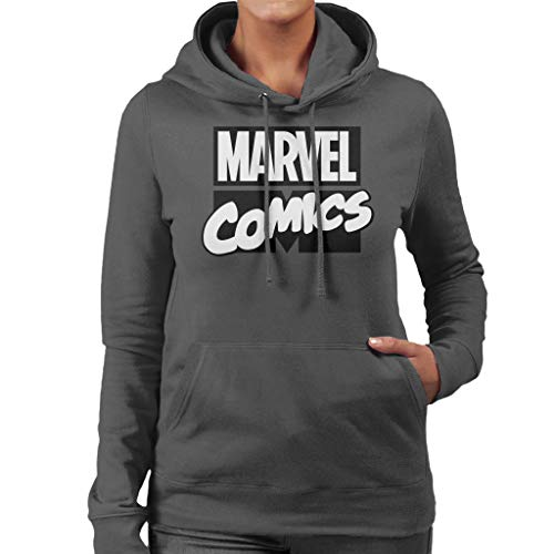 Marvel Comics Classic White Text Logo Women's Hooded Sweatshirt
